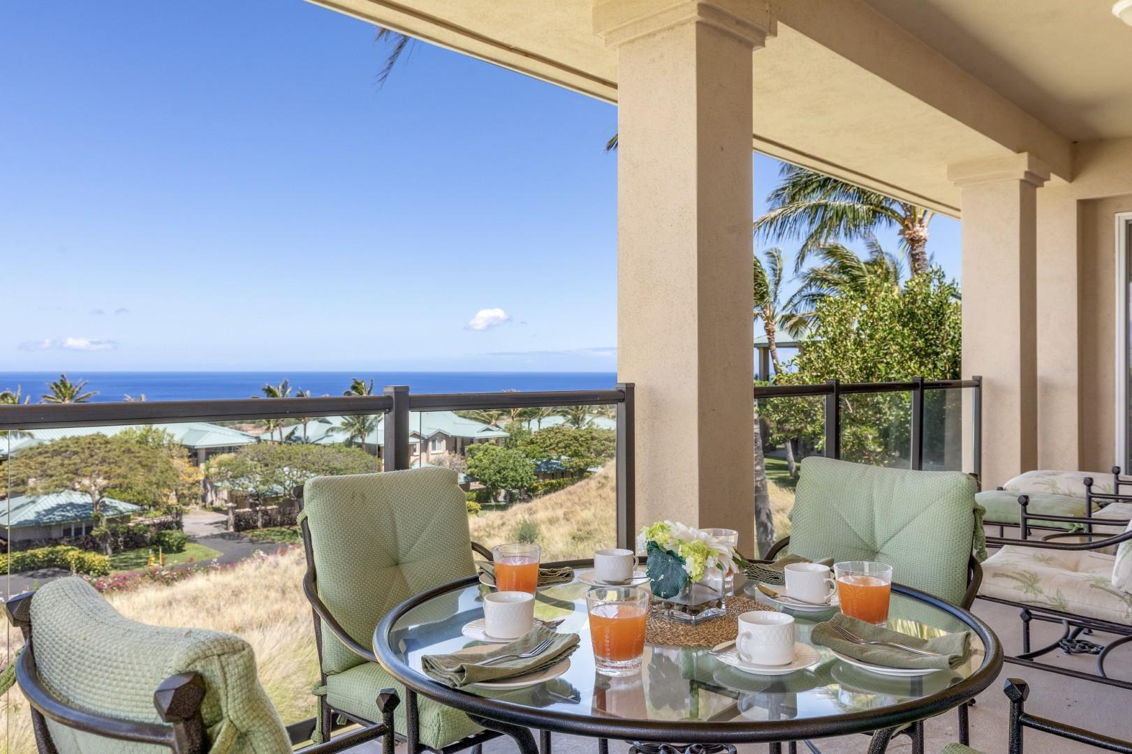 Enjoy year round sunset and ocean views from the generous lanai.