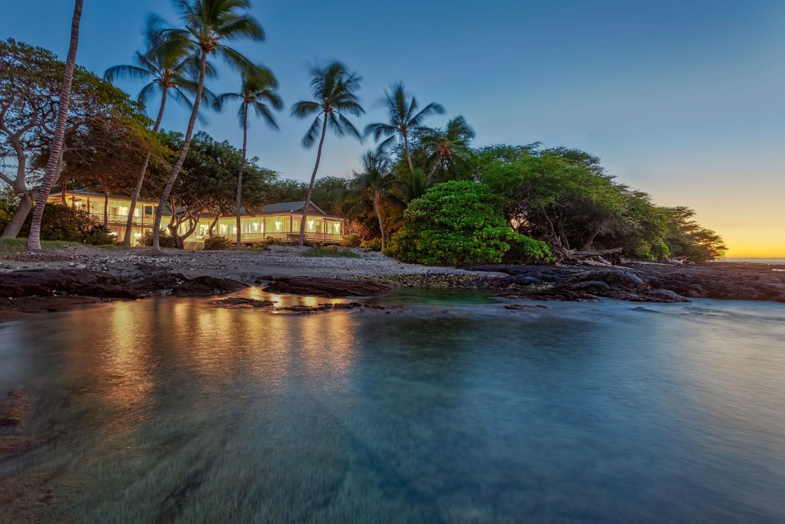 Sunset View of the Outstanding Ocean Front Property from Beautiful Puako Bay