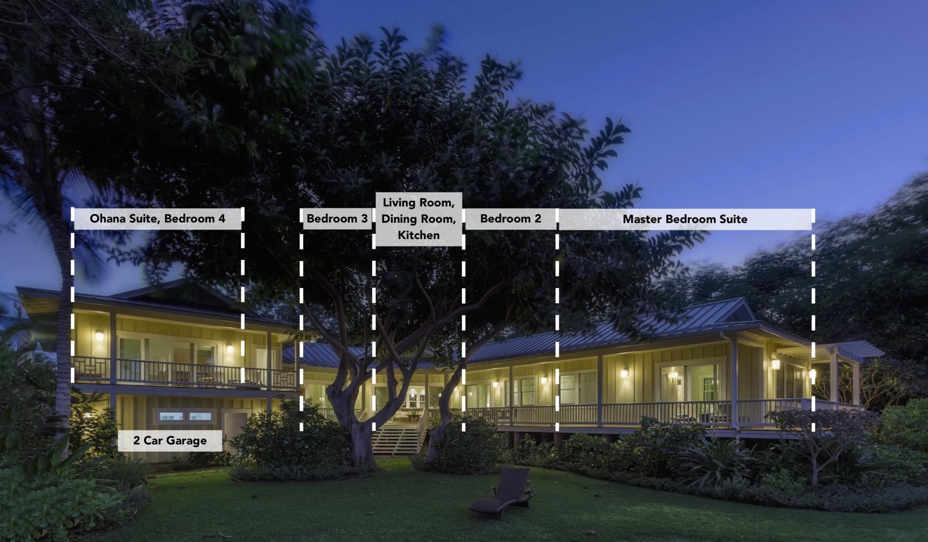 Twilight View of the Elegant Estate, Including Ohana Guest Suite above 2 car garage