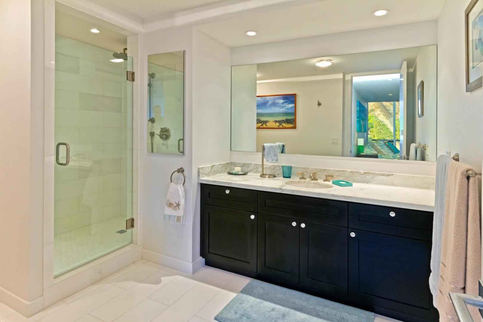 Master bathroom with dual shower heads.