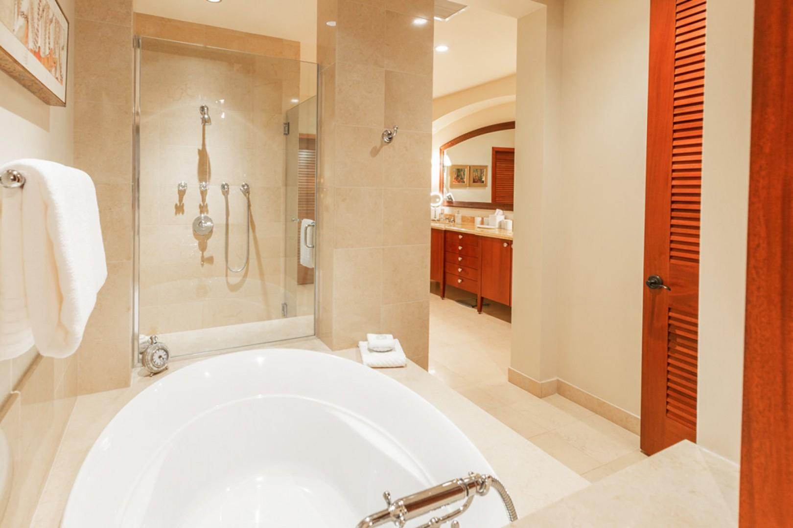L509 Sandcastles Suite Ocean View Master Bedroom Bath with Private WC, Walk-In Customized Closet with Safe, Separate Glass Shower, Deep SoakingOcean View Master Bedroom Bath with Private WC, Walk-In Customized Closet with Safe, Separate Glass Shower, Deep
