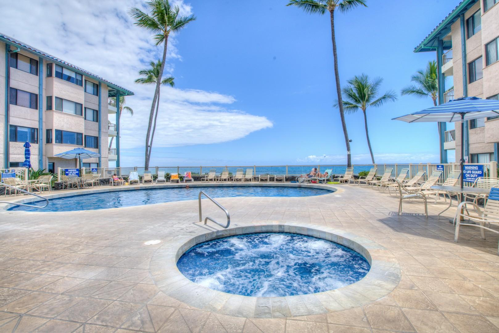 View of the Oceanfront Pool Area and Spa at the Kona Reef complex.