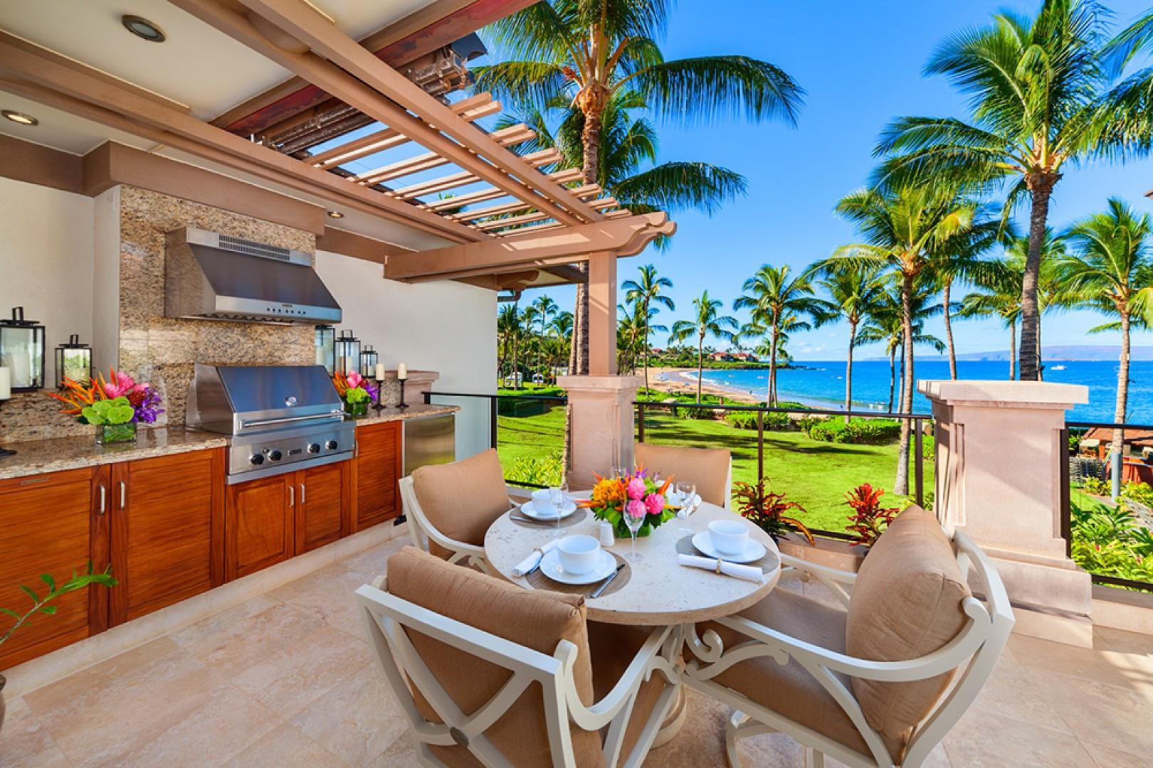 A201 Set Directly Above Wailea Beach with Panoramic Ocean and Beach Views, Comfortable Outdoor Dining, BBQ, and Chaise Lounge Chairs!