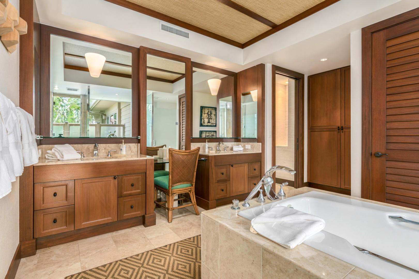 Master Bath with Dual Vanities, Soaking Tub, Walk-In Shower, and Privacy Door to W/C.