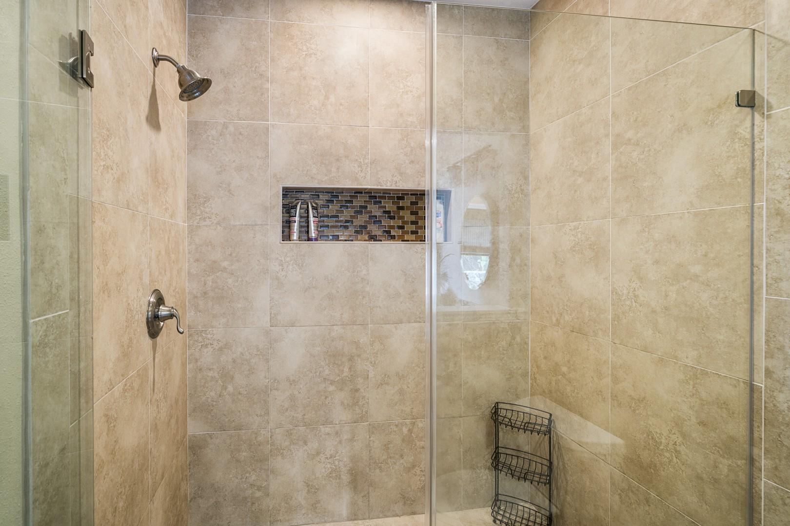 Walk-in shower in the Master bathroom