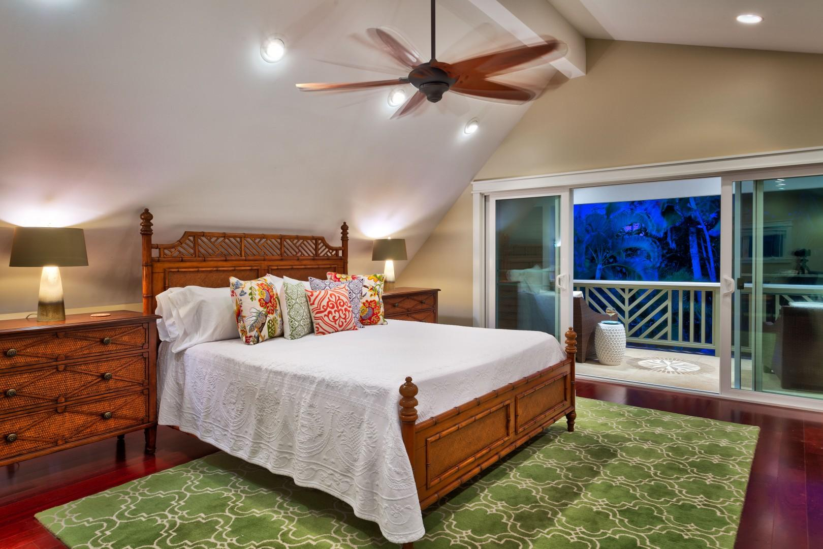 Upstairs, the master bedroom comprises an entire half of the villa.