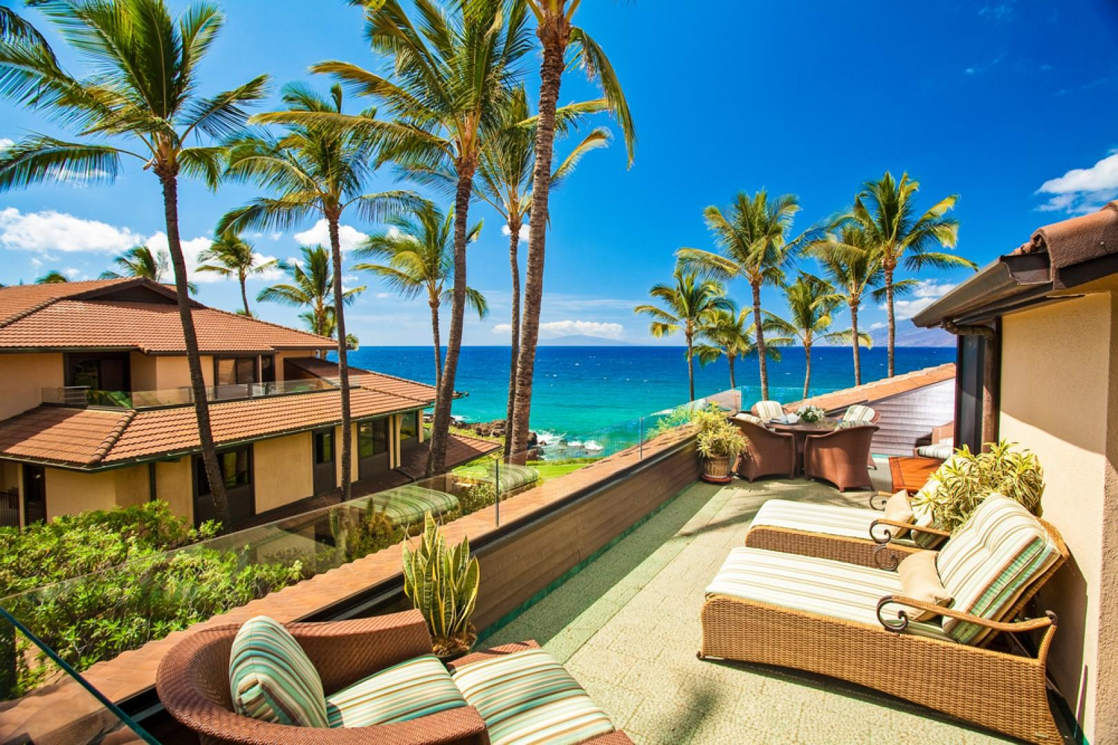 One of Two Large Sunny Terraces at Makena Surf E301 Sunny Surf - Overlooking both the Ocean and the Swimming Pool.