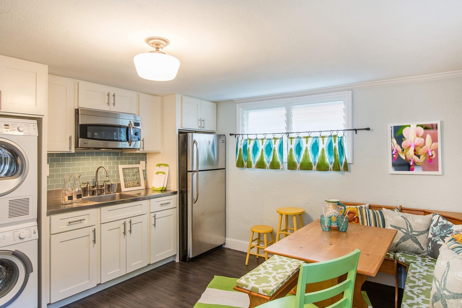 Lower level half-kitchen.