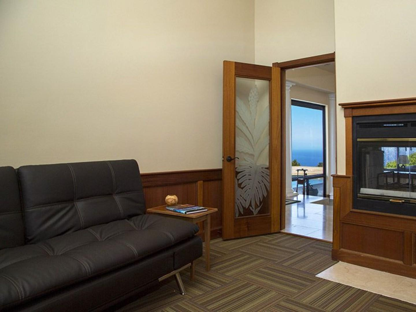 Guest bedroom has a leather top full size eurolounger