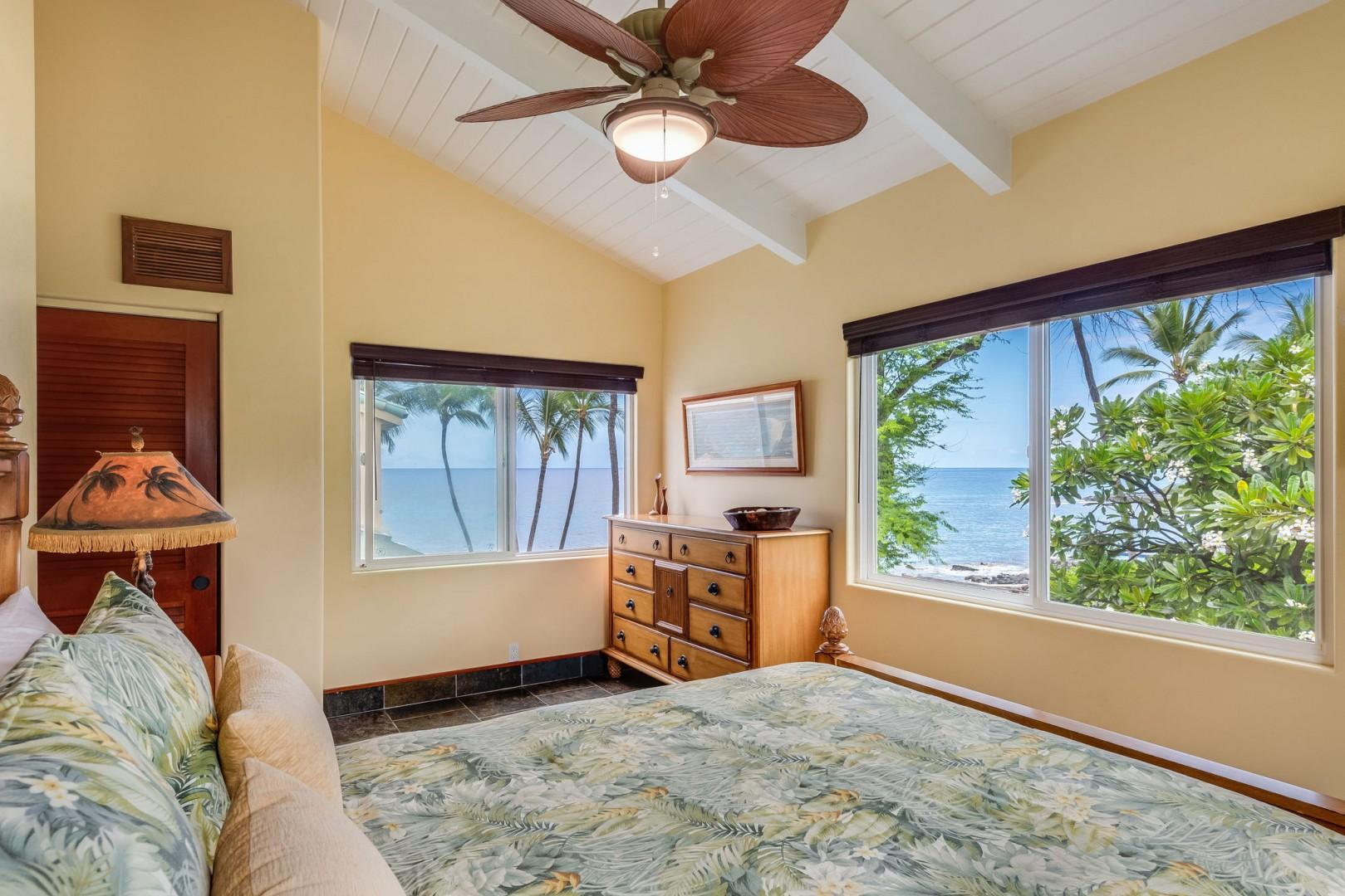 Hale Moana Master bedroom with ocean views