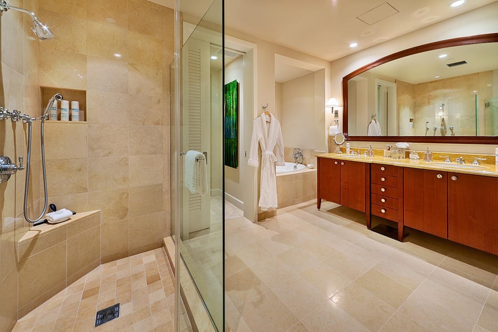 J405 Sea Breeze Suite Master Bedroom Bath with Ocean View Soaking Tub, Glass Shower, Dual Vanities and Private WC