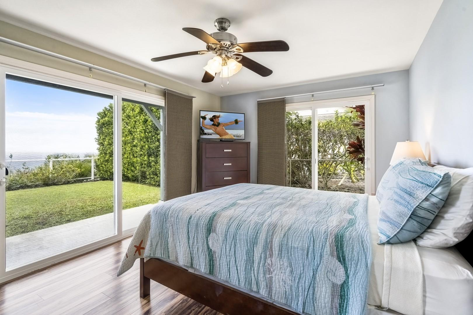 Queen Bedroom with garden and ocean views at ground level