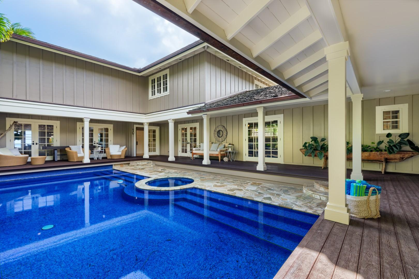 The pool area is located off of the living room, kitchen and media room. Central to all parts of the villa.