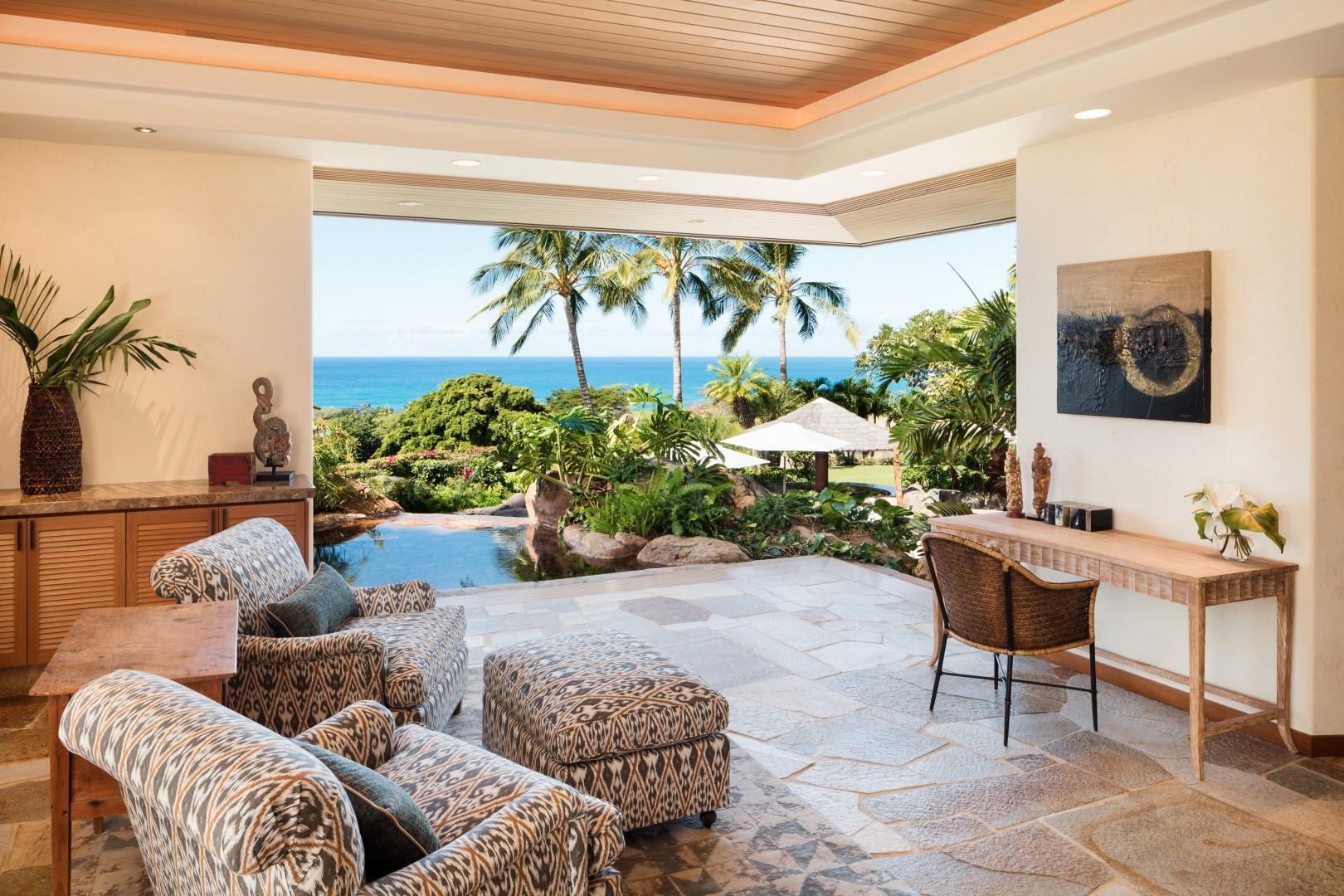 Ocean-view master suite sitting area.