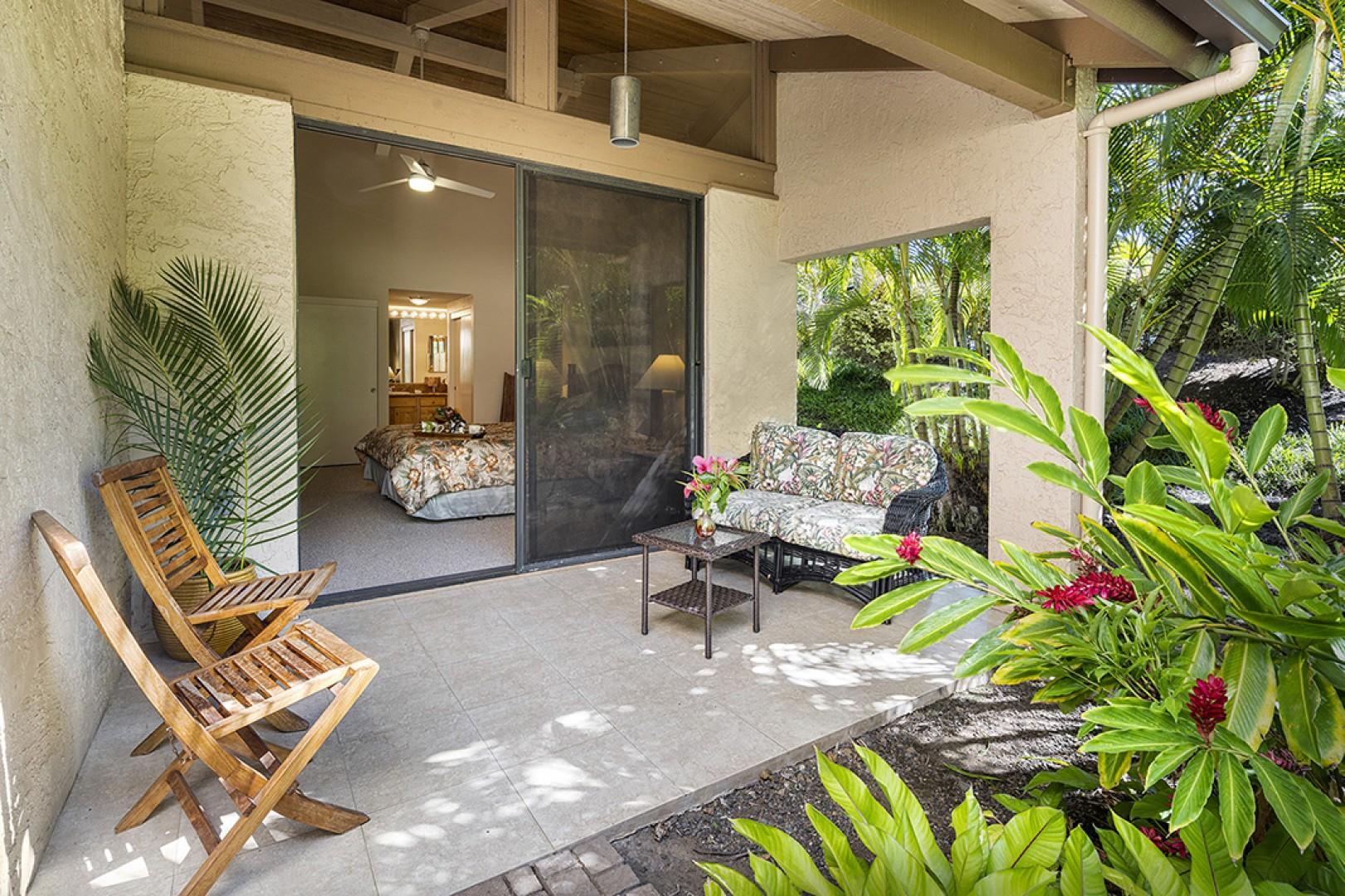 Private seating on the Master bedroom Lanai