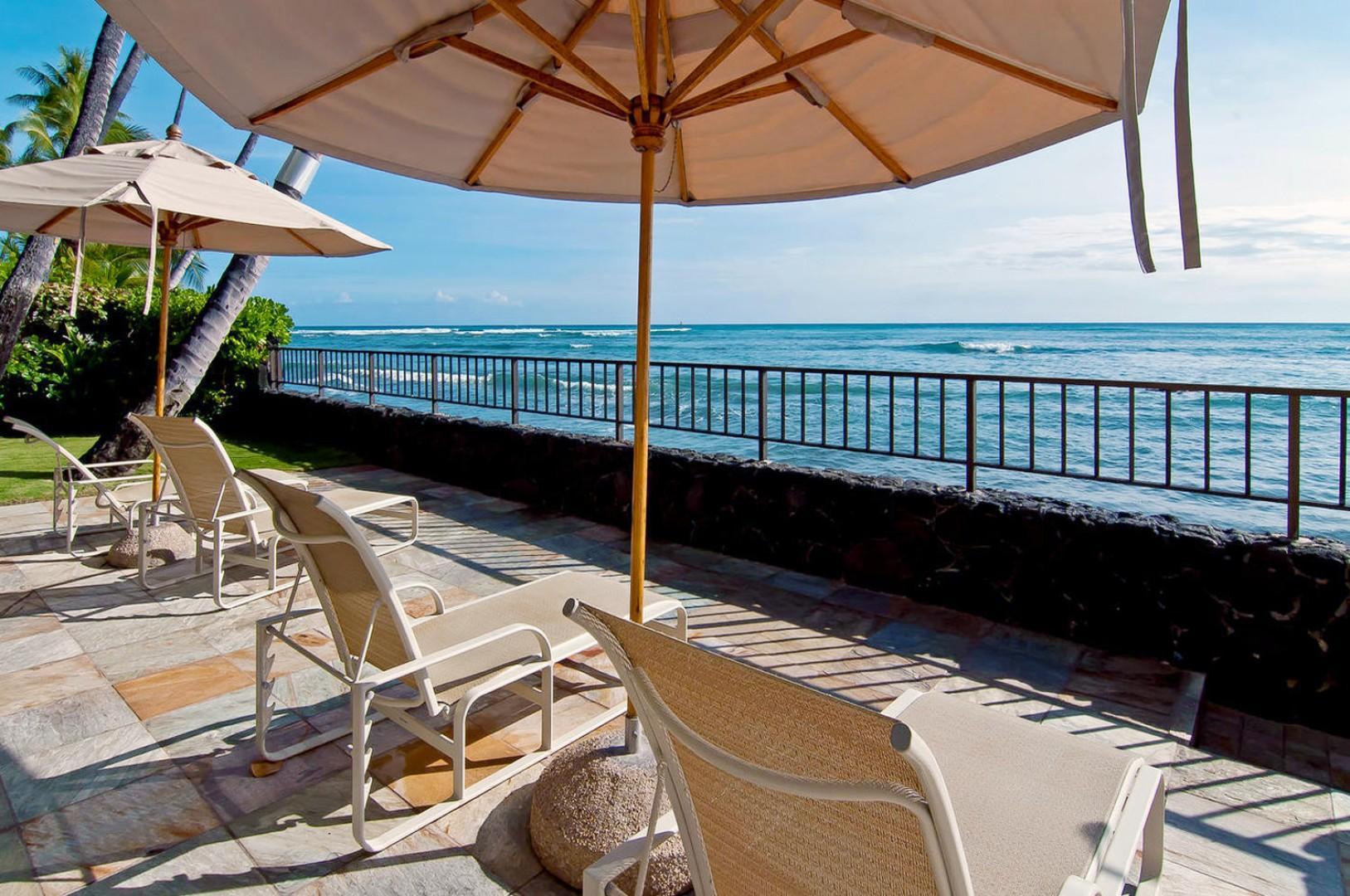 Enjoy sunbathing on the oceanfront deck.