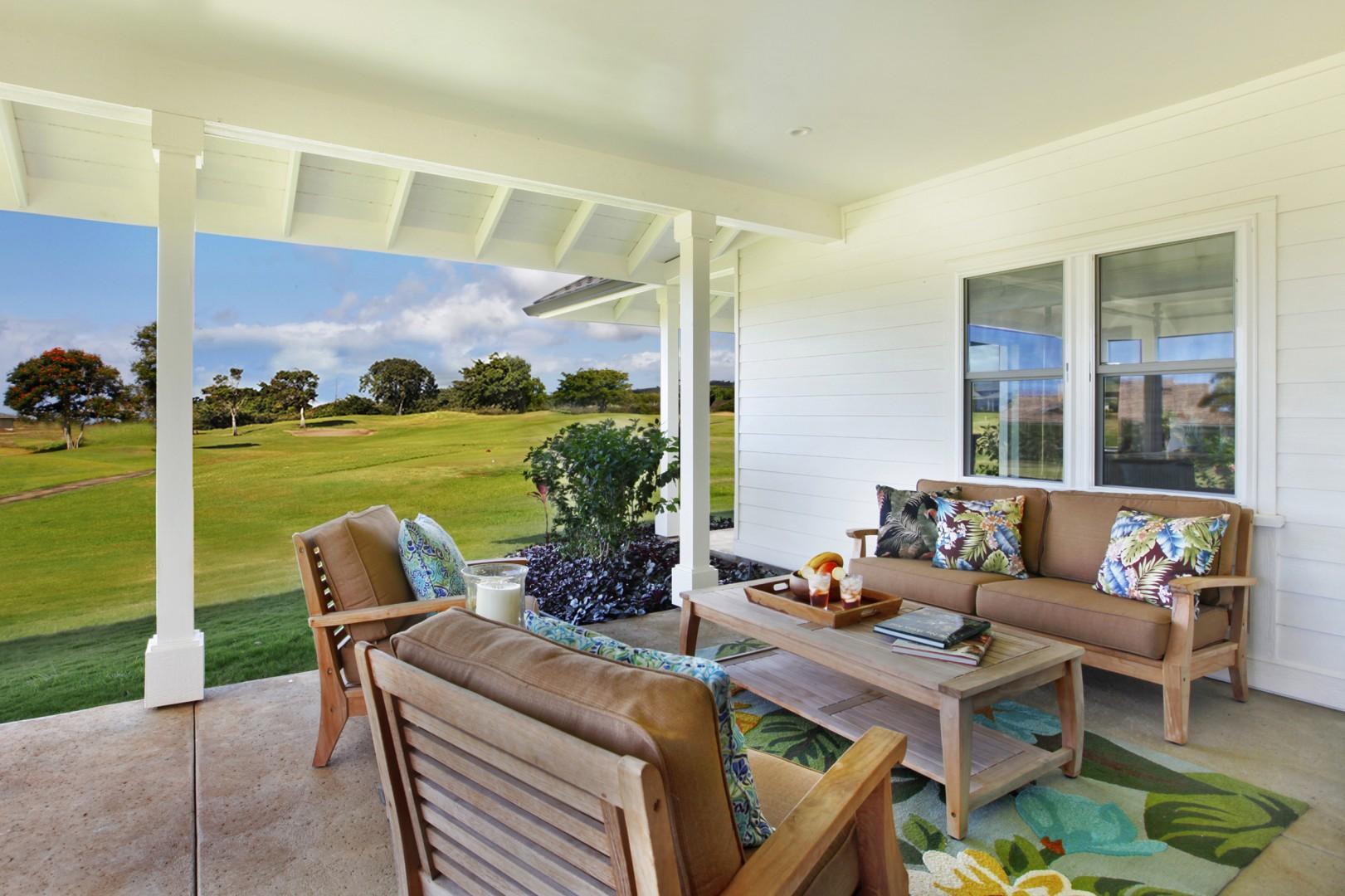 Lanai with views of the Kiahuna golf course