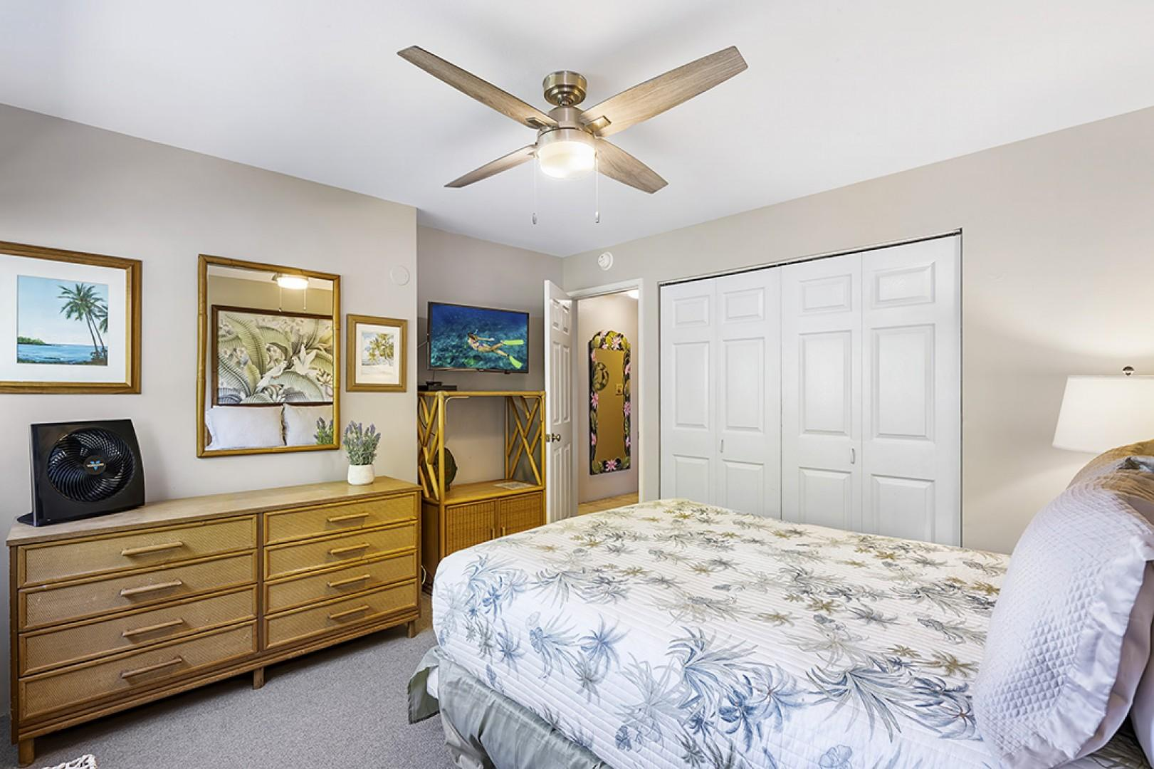 Master bedroom features a high speed fan to keep you cool in the evenings