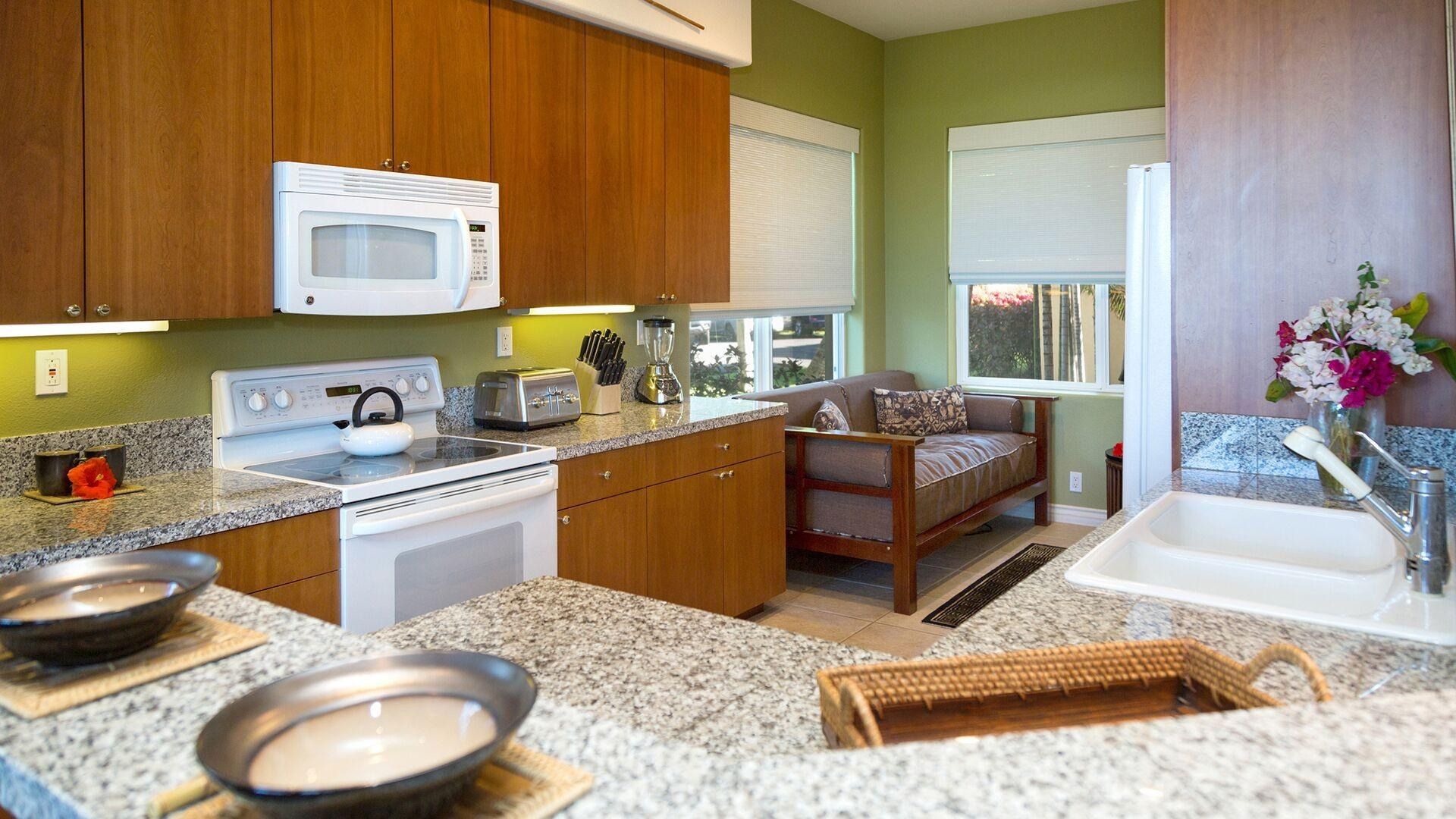 The gourmet kitchen is very spacious and provides all the items you need to make meals while on vacation.