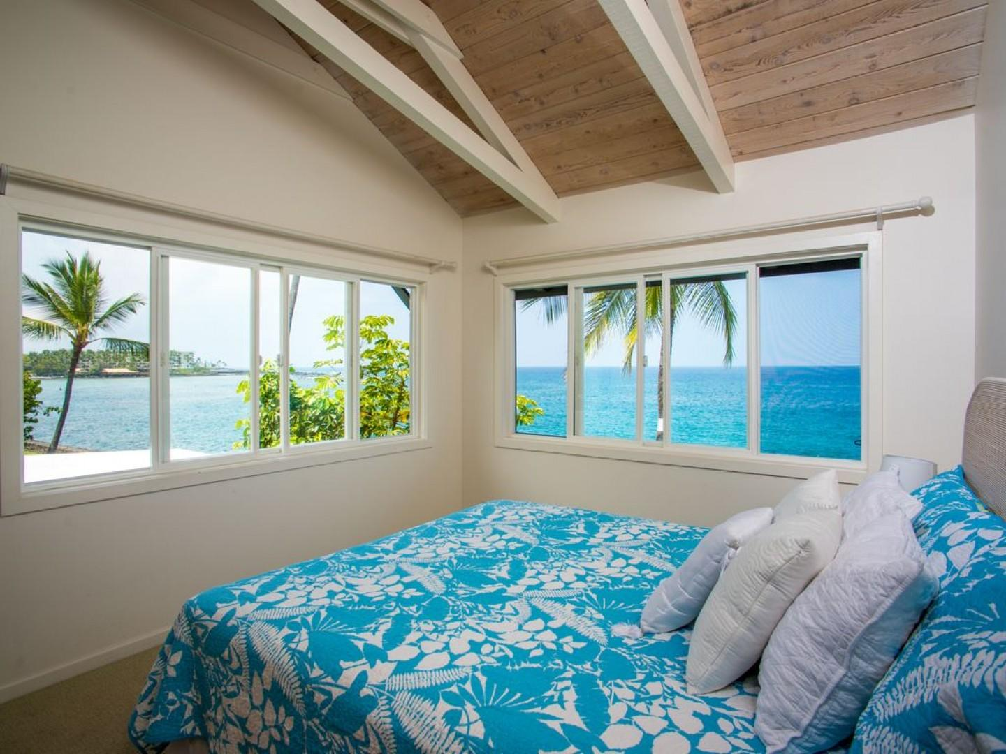 Upstairs bedroom equipped with King bed and phenomenal views!