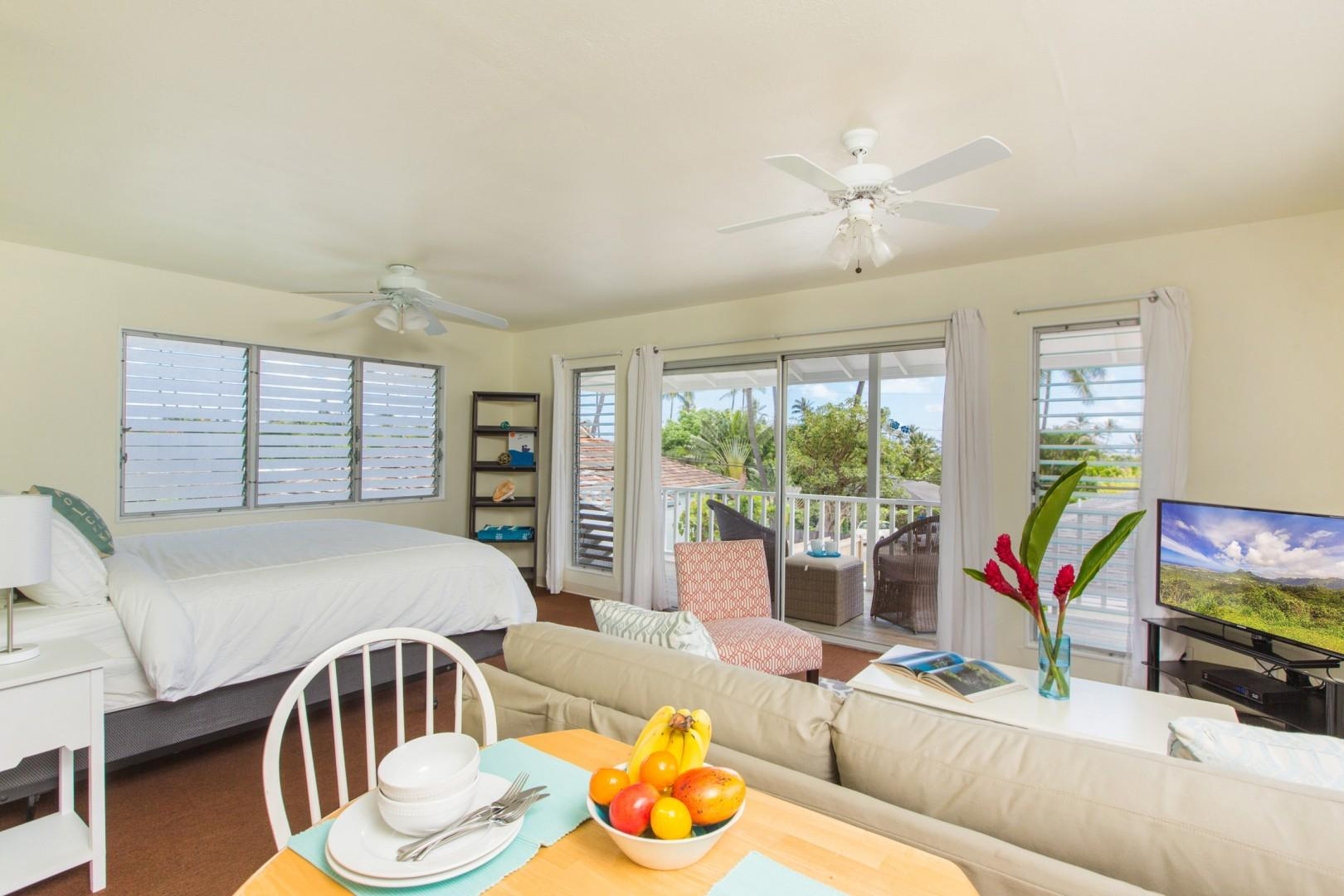 Guest cottage with king bed, pull-out sofa, full bath, lanai, wet bar, and new split air conditioning!