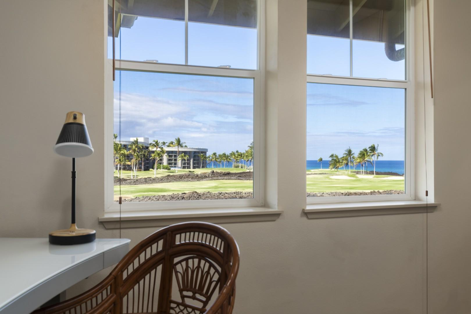 Enjoy writing postcards at the computer deak while gazing out at the ocean.