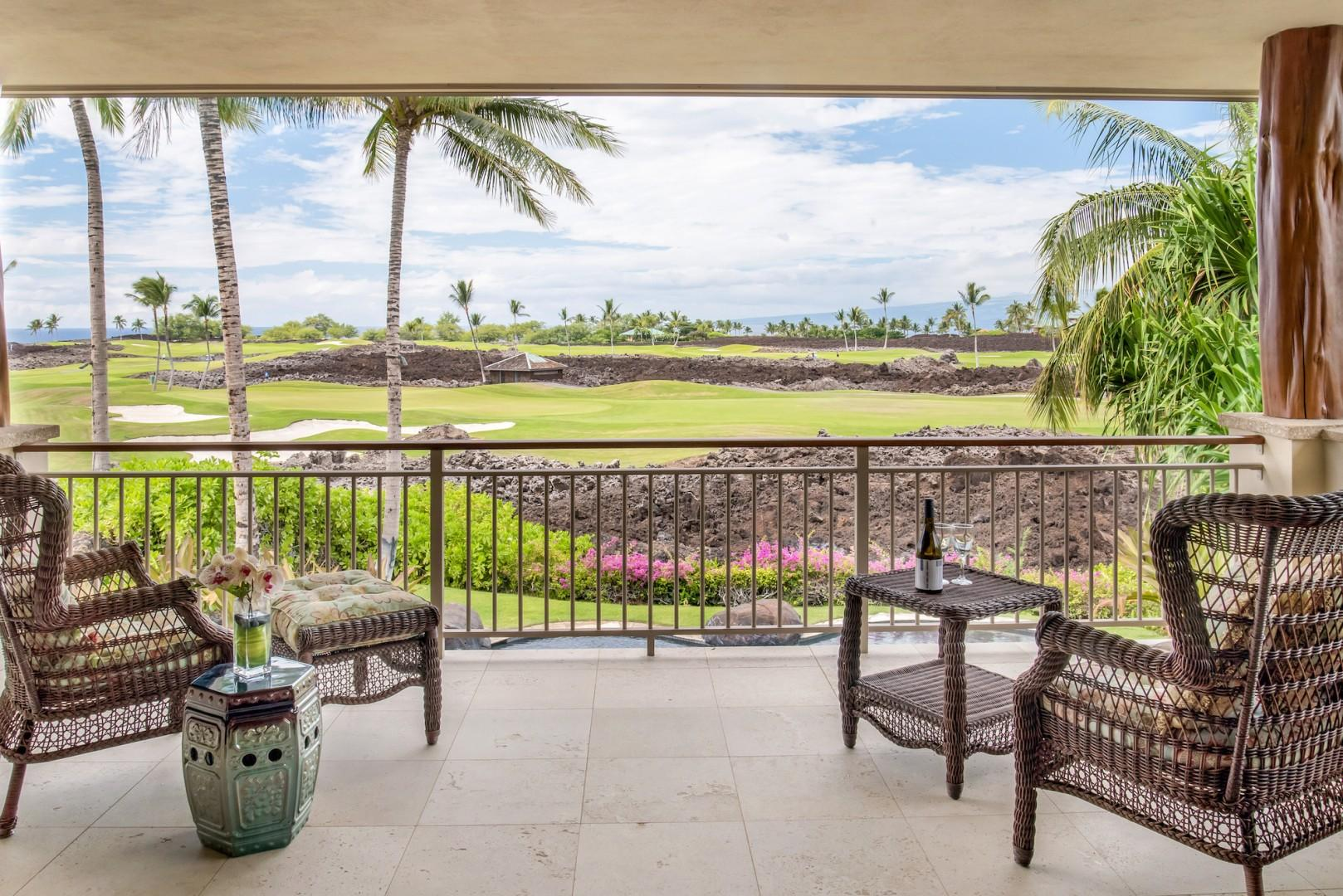 Private Lanai Off Master w/ Comfortable Seating, a Perfect Place to Relax at the Beginning or End of Each Perfect Day.