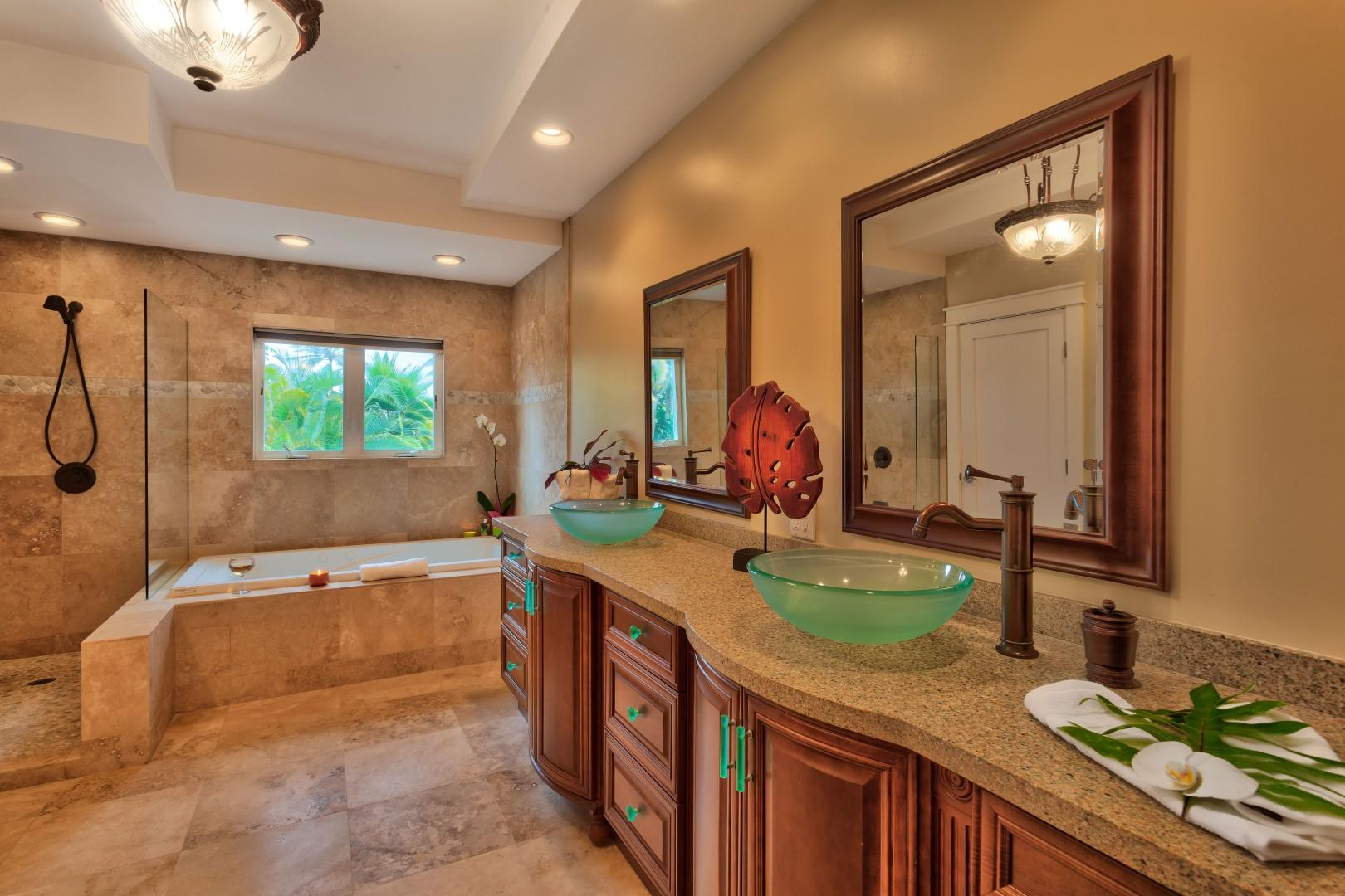 Bask in the spa-like feel of your custom master bathroom