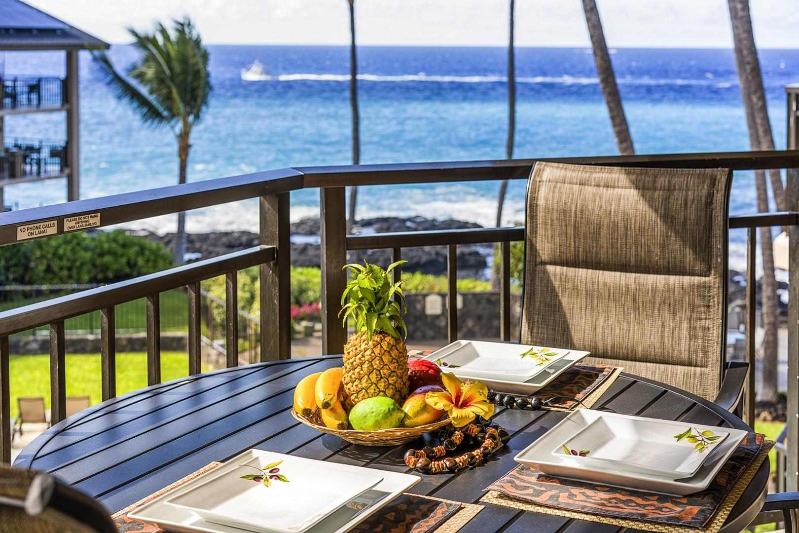 Breathtaking views of the ocean from the Lanai!