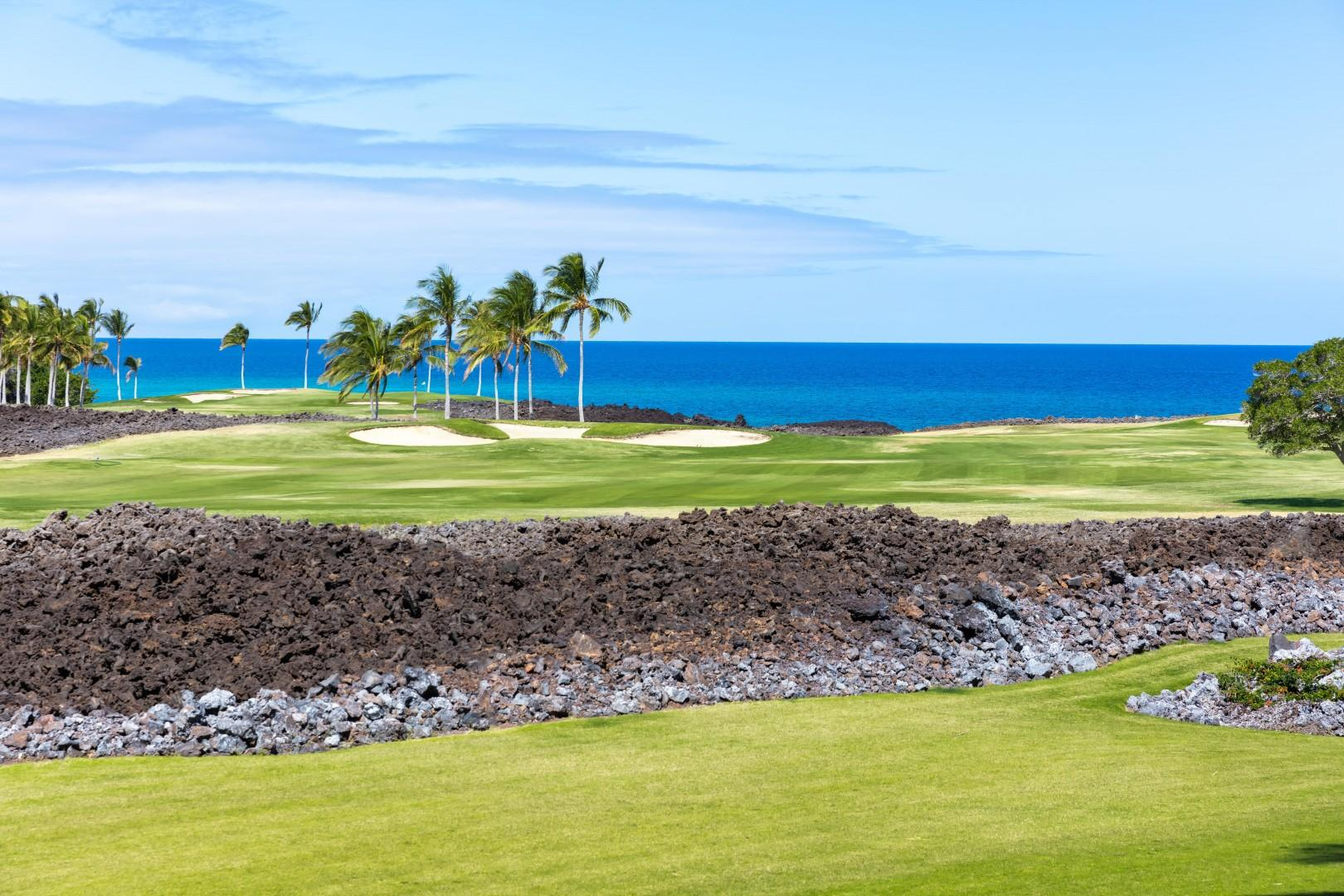 Spectacular views from your lanai of the ocean and golf course.