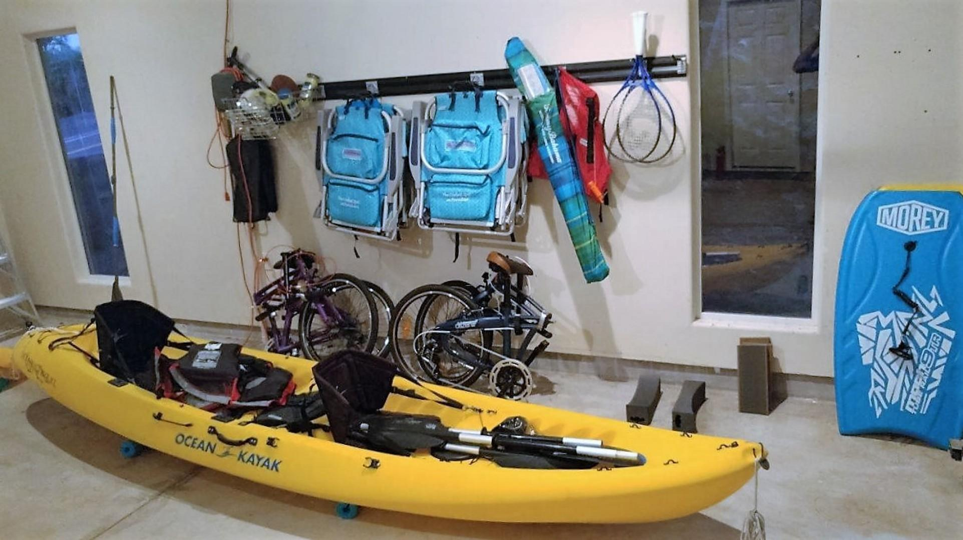 Fun toys to enjoy: two folding bikes (fit great in the car), beach chairs, umbrella, tennis rackets, boogie boards and a two-seat kayak.