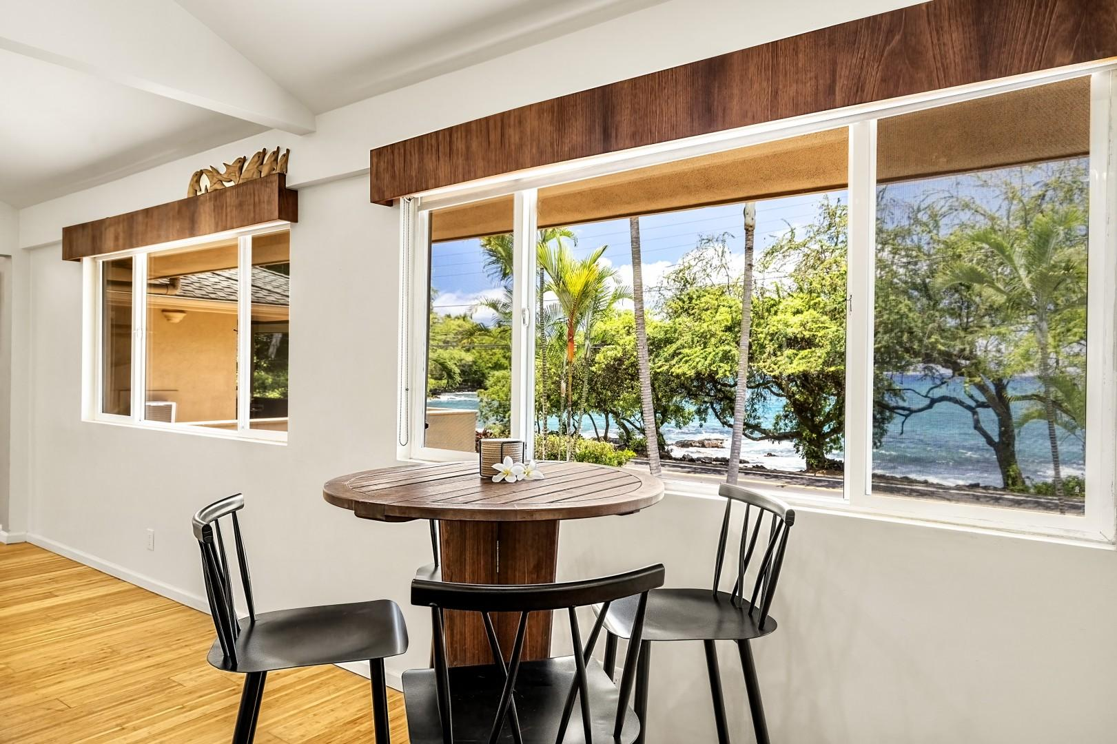 Sit at the bistro table to observe the games and ocean activity