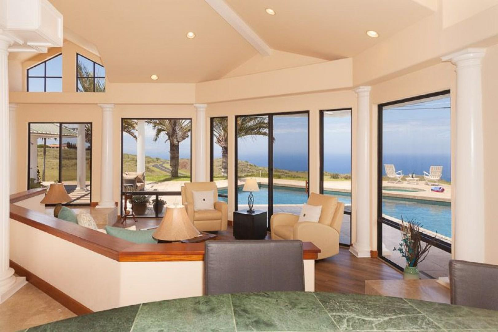 Great room with plenty of lounging area and views galore
