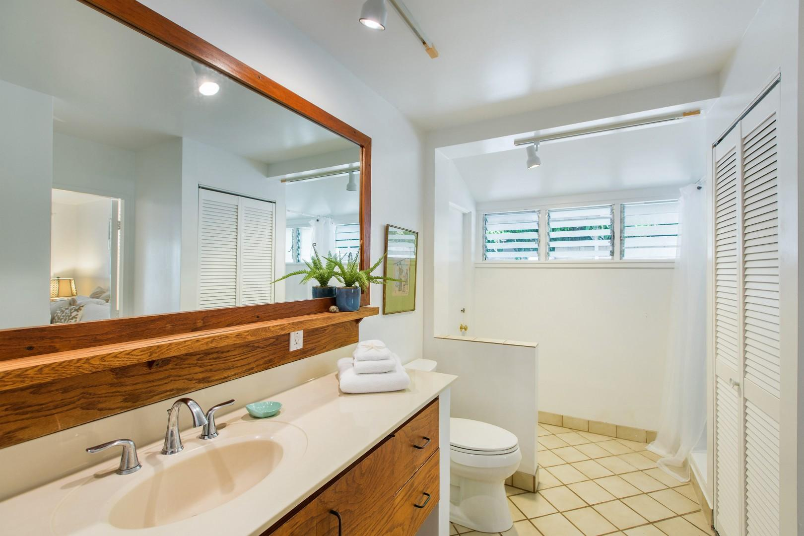 Ensuite bathroom to downstairs master bedroom. Entry from hallway or master bedroom.