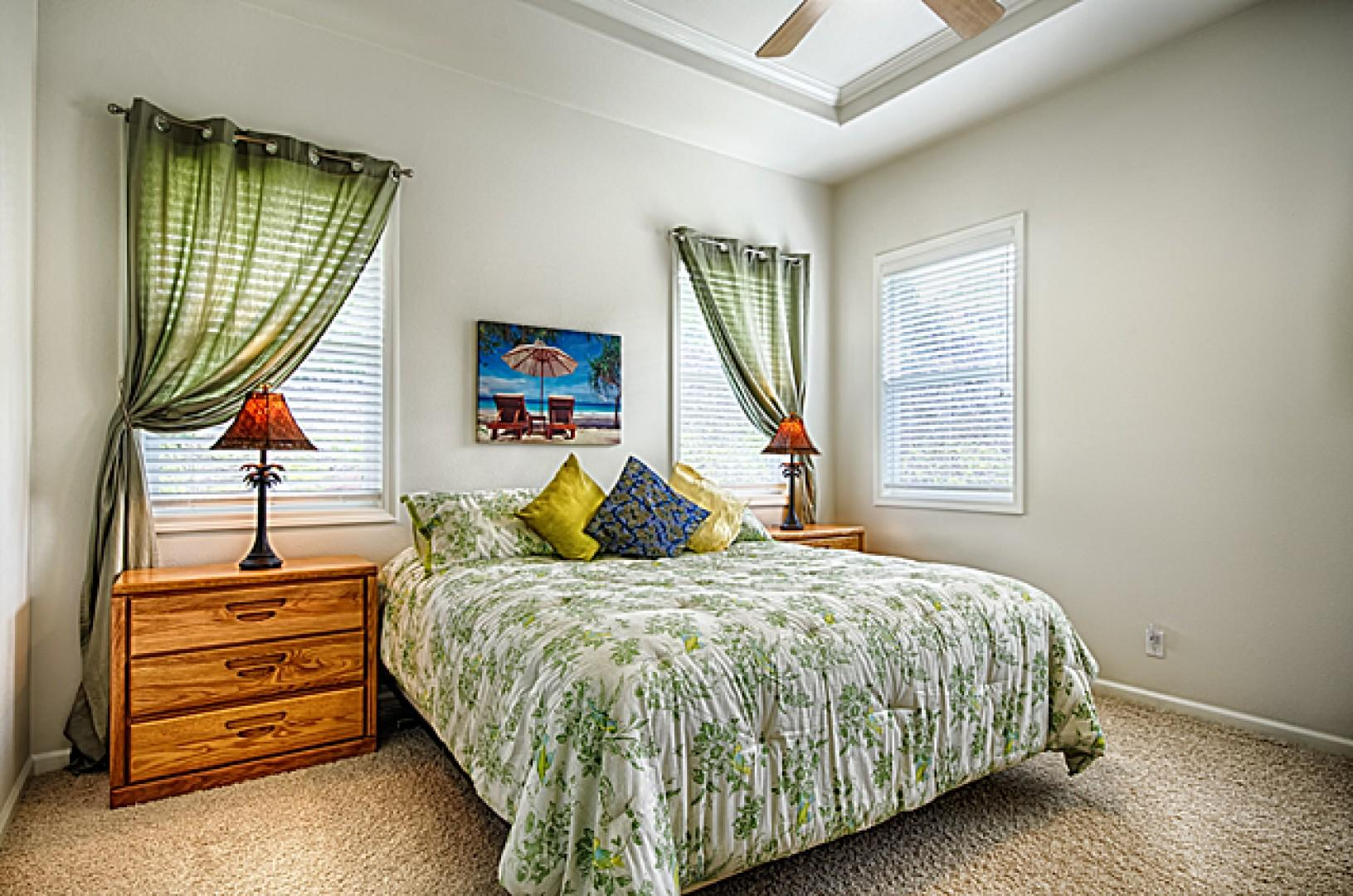 Spacious & quiet guest bedroom with a comfortable king bed!