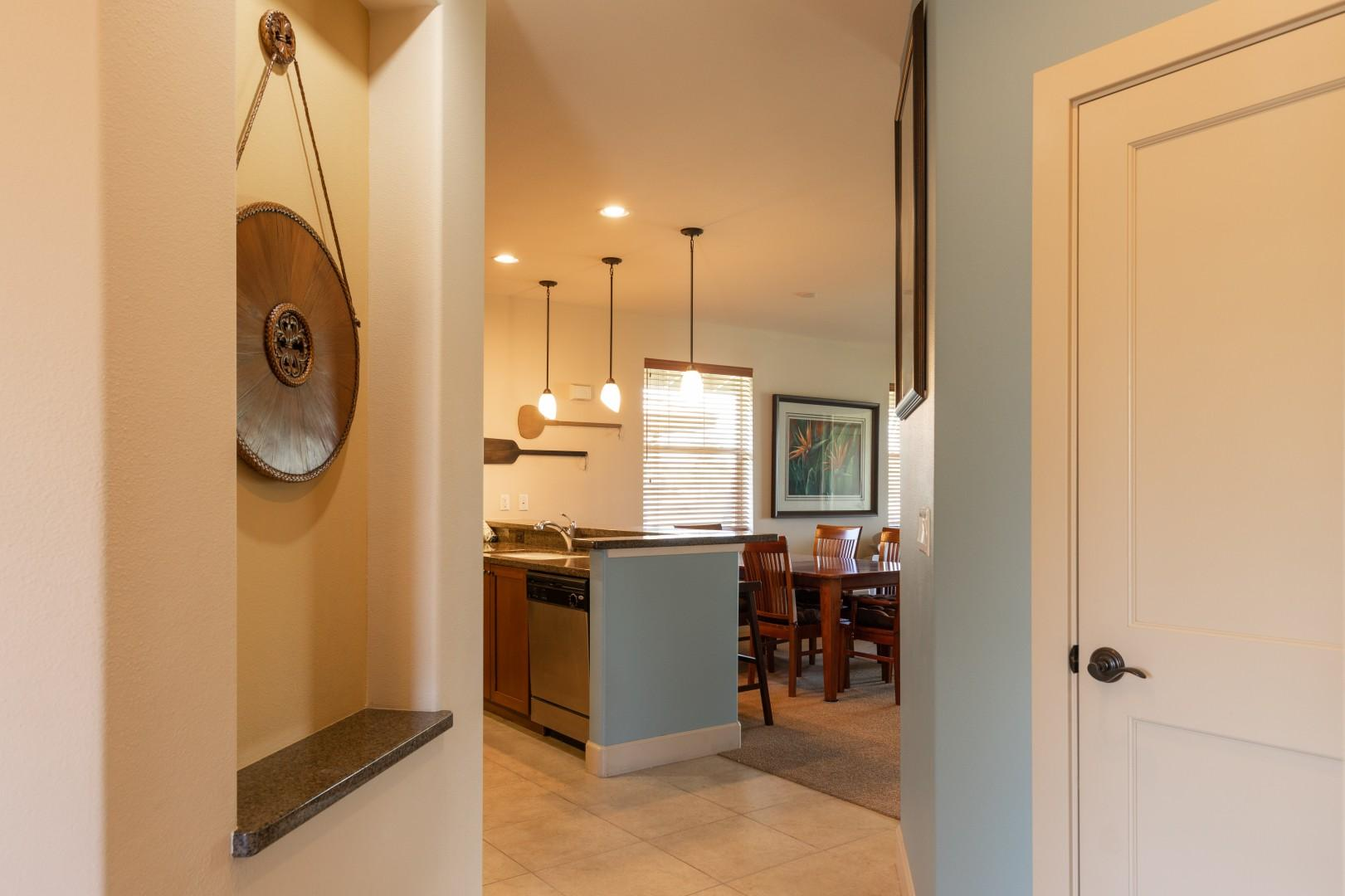 The guest suite is located to the left of the entrance into the unit provding privacy from the other rooms.