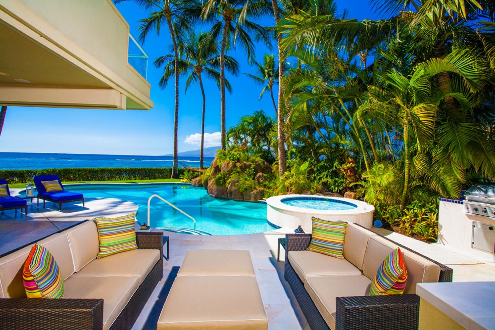 Opal Seas At Baby Beach - Covered Outdoor Pool-Side Sunset View Dining for Six with Lounging Areas