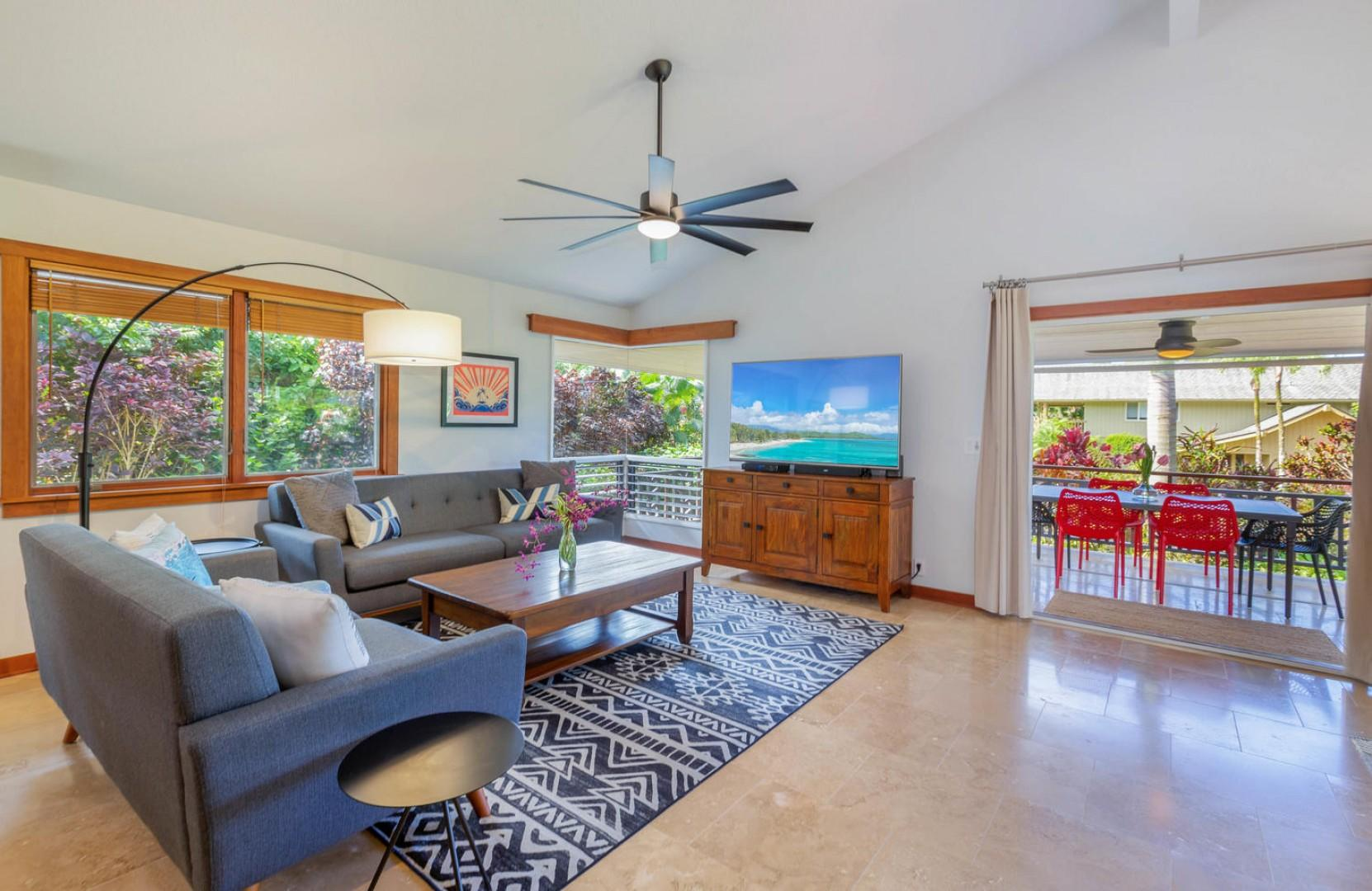 Living space with covered lanai beyond