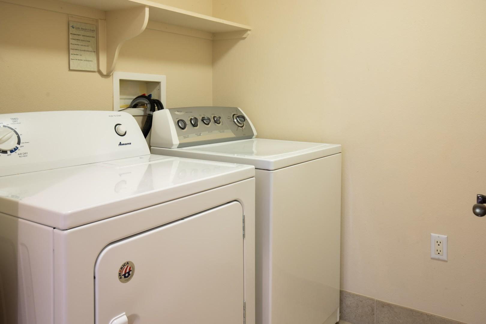 Utilize the full size washer and dryer during your stay.