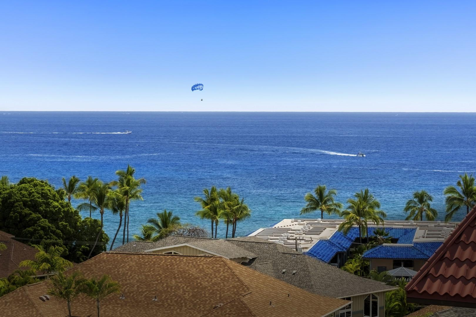 Zoomed view from the Lanai, watching the parasailers