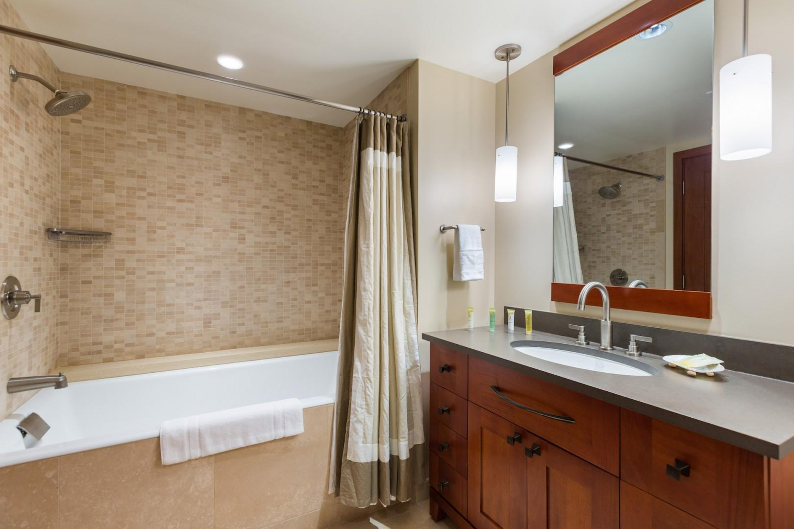 3rd/last bathroom. Full bath with tub/shower combo, sink and toilet. A starter supply of bath amenities and toilet paper is included.