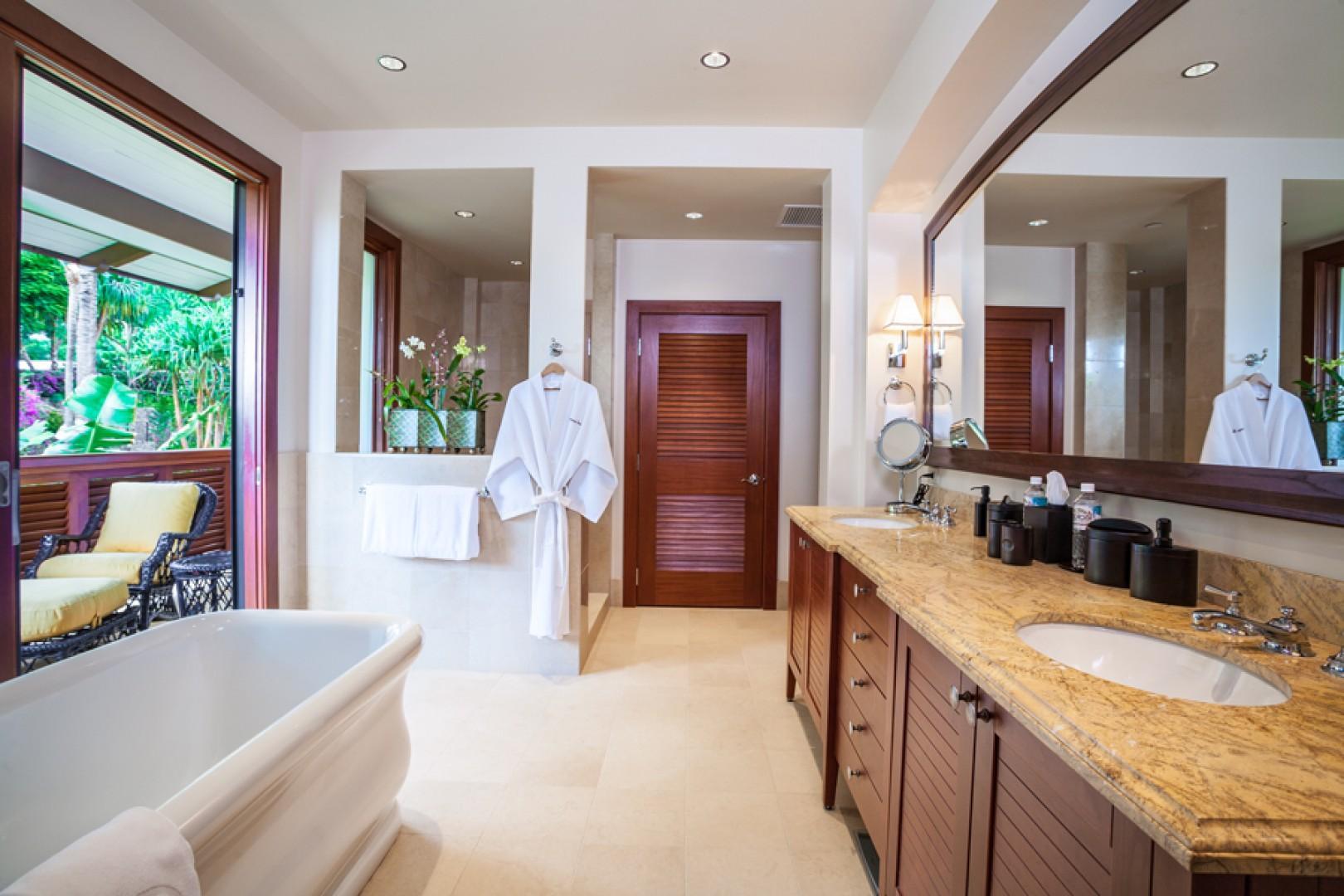 Castaway Cove C201 - Master Bedroom Bath with Private Garden Outdoor Terrace, Deep Soaking Tub, Separate Shower, Dual Vanities, Walk-In Closet, Safe