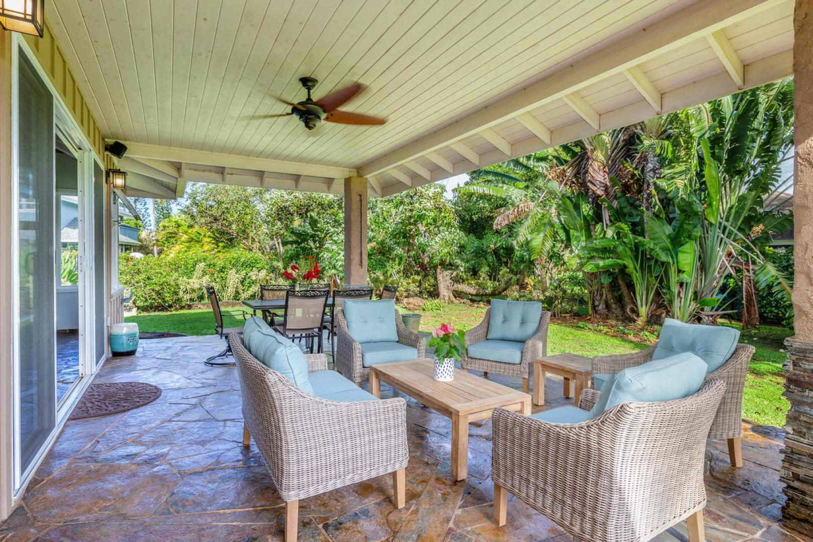 Large patio with comfortable seating