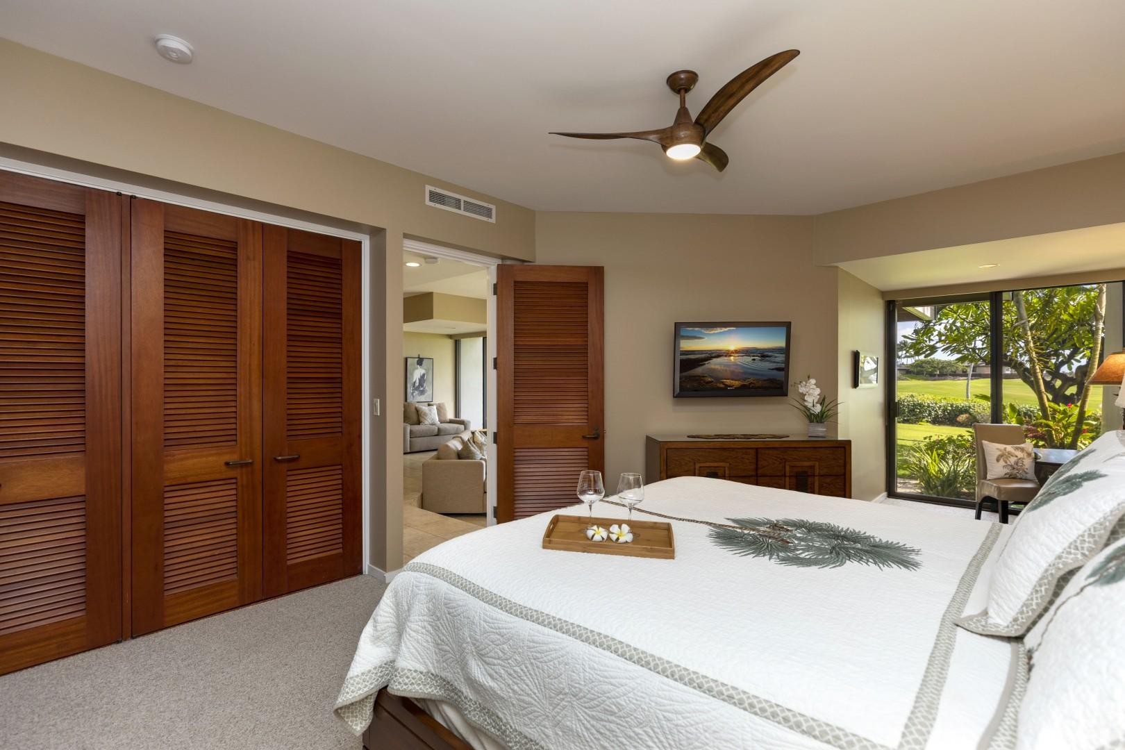 The master bedroom is very spacious and luxurious.