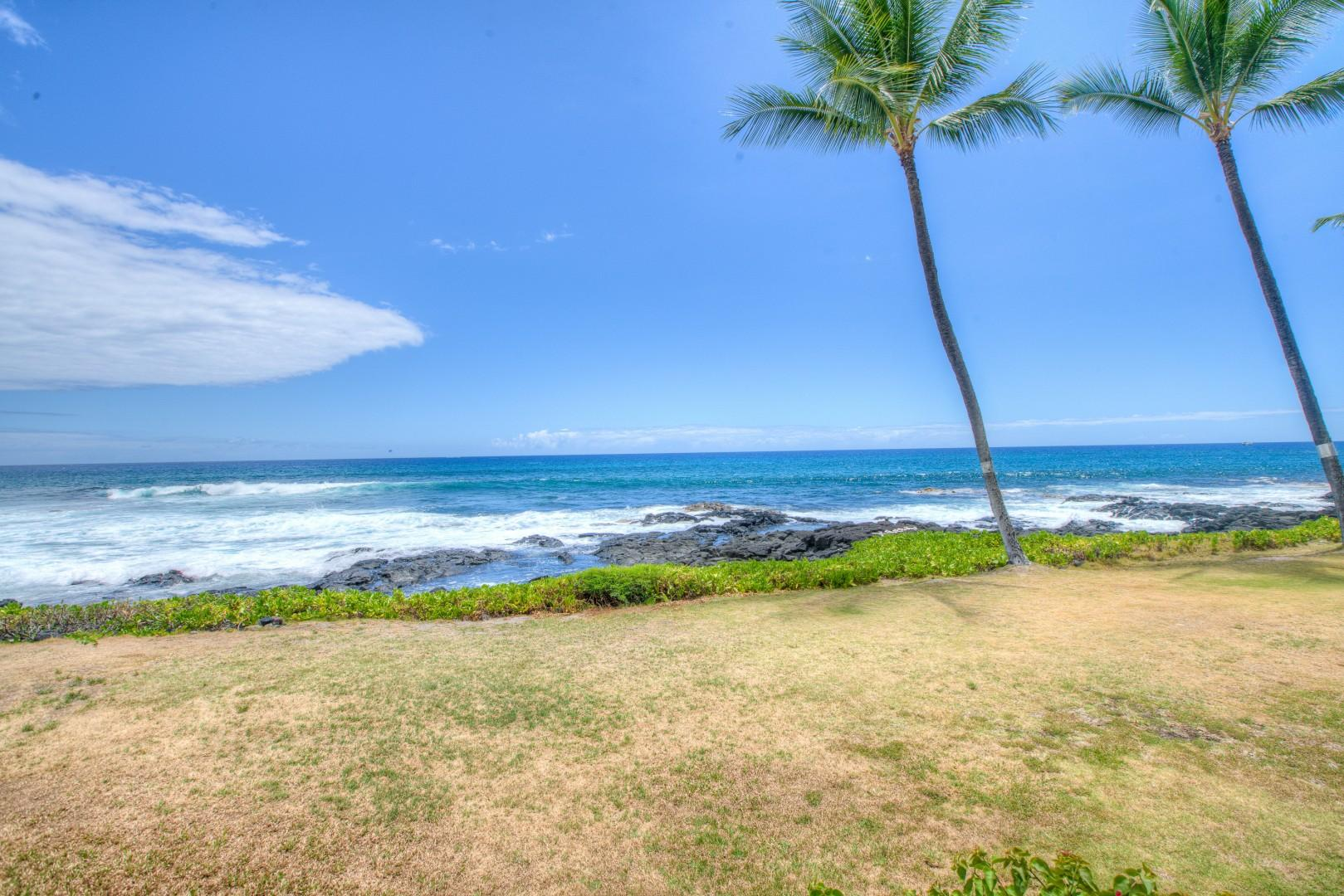 Looking West from the Beach in front of the Kona Reef Complex.