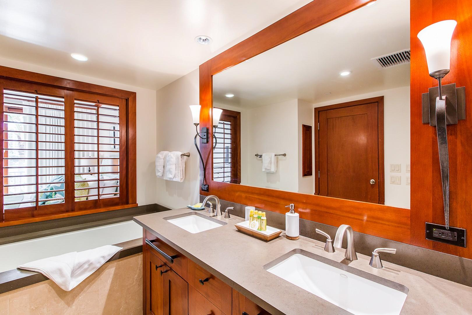 Master bathroom with soaking tub and separate shower