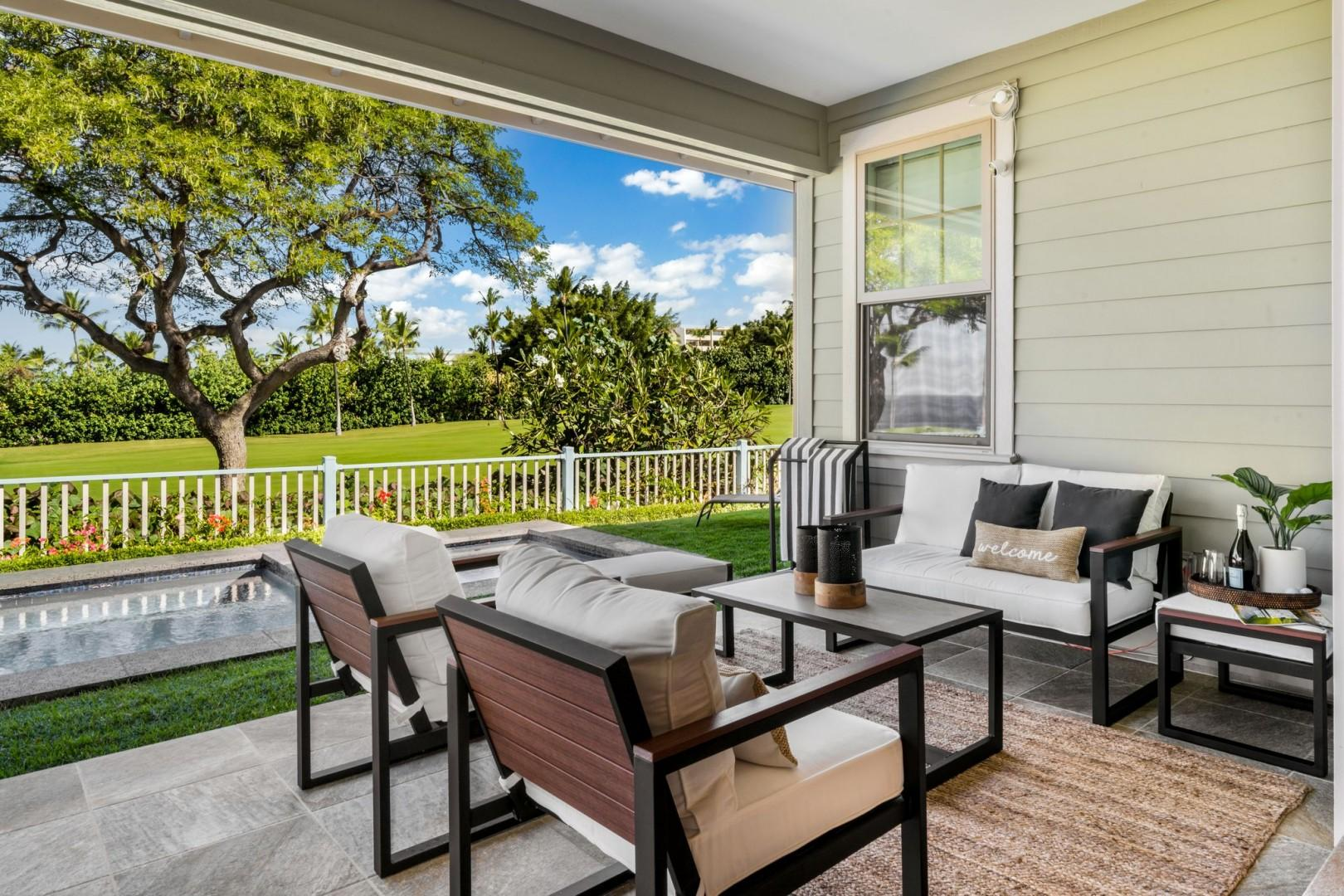 Enjoy catching up with family on the screened Lanai