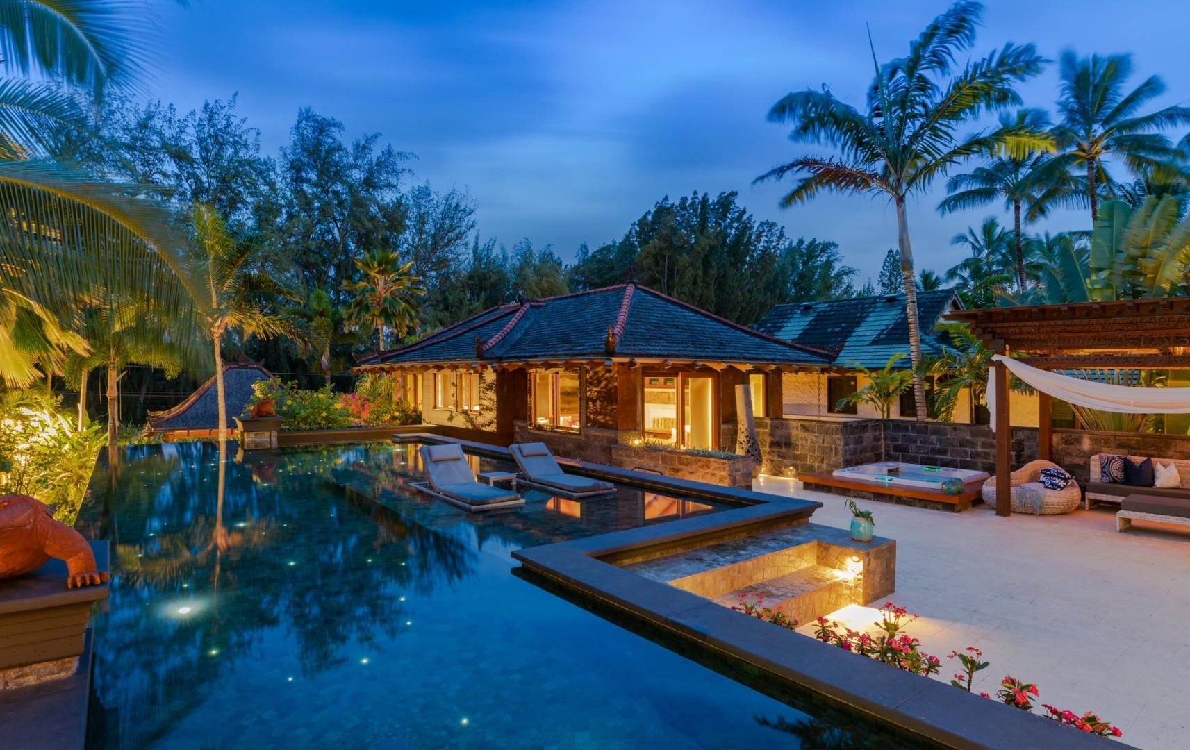 Pool Courtyard at Twilight
