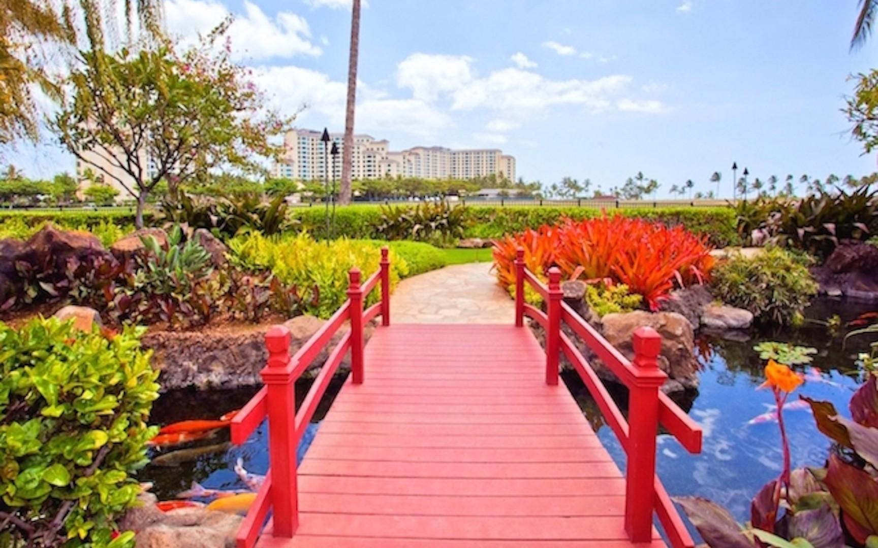 Stroll through the acres of lush, tropical grounds admiring the beautifully stocked koi ponds and streams.