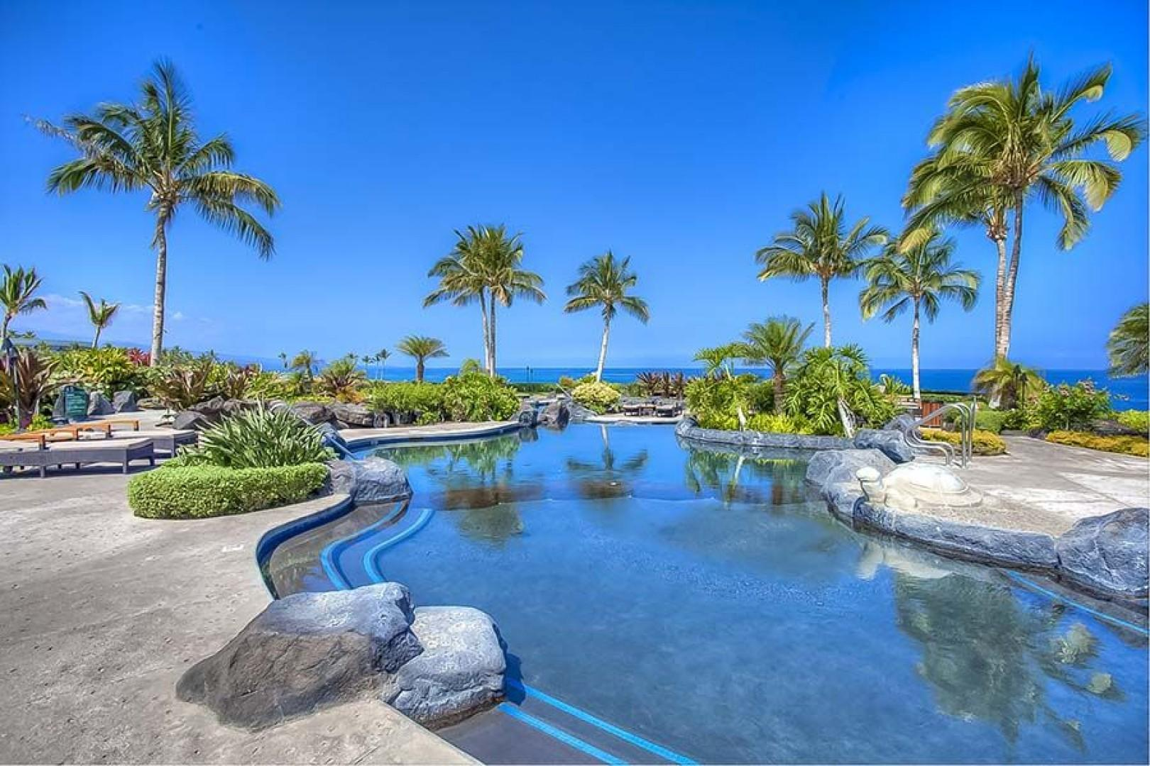 The only Big Island resort with an oceanfront pool, cafe and gym